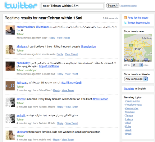 Twitter Search for Tehran